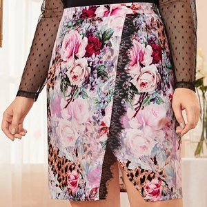 SHEIN Plus Eyelash Lace Detail Floral Skirt 2X New